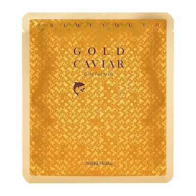 Маска тканевая антивозрастная Holika Holika Prime Youth Gold Caviar Gold Foil Mask 25 мл: фото