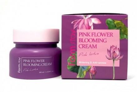 Крем с экстрактом лотоса FARMSTAY Pink flower blooming cream pink lotus 100 мл: фото