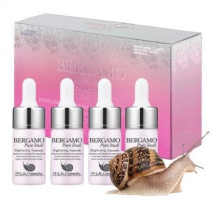 Сыворотка ампульная с муцином улитки для сияния кожи BERGAMO Pure snail brightening ampoule 4 ампулы по 13 мл: фото