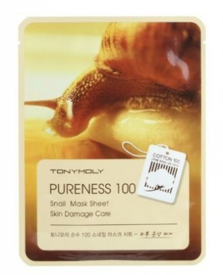 Маска для лица с улиточным муцином TONY MOLY Pureness 100 snail mask sheet 21 мл: фото