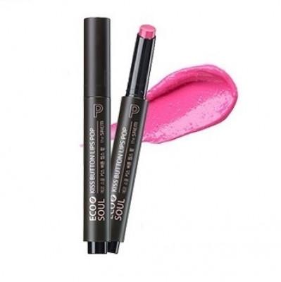 Помада для губ THE SAEM Eco Soul Kiss Button Lips Pop PK02 Pink Chew POP: фото