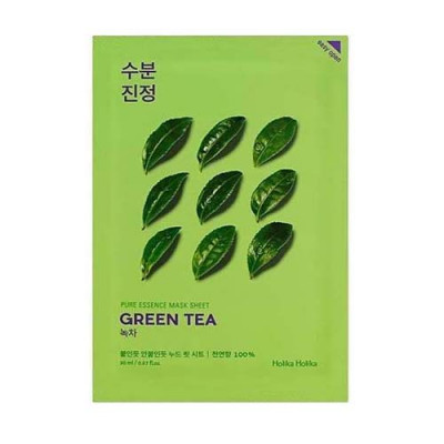 Маска тканевая противовоспалительная Holika Holika Pure Essence Mask Sheet Green Tea, зеленый чай 20 мл: фото