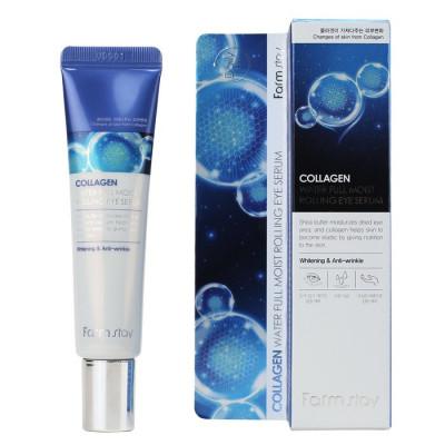 Сыворотка-лифтинг для кожи вокруг глаз с коллагеном FarmStay Collagen Water Full Moist Rolling Eye Serum 25мл: фото