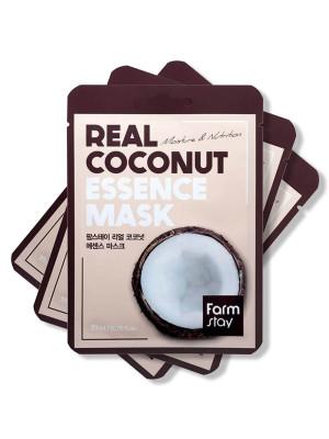 Набор тканевых масок с экстрактом кокоса FarmStay REAL COCONUT ESSENCE MASK 23мл*3: фото