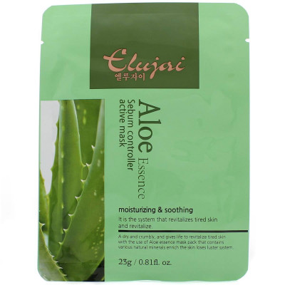 Тканевая маска для лица с экстрактом алоэ Elujai Sebum Controller Active Mask Aloe Essence 23 г: фото