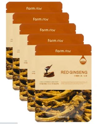 Набор тканевых масок с экстрактом красного женьшеня FARMSTAY RED GINSENG VISIBLE DIFFERENCE MASK SHEET 23мл*5шт: фото